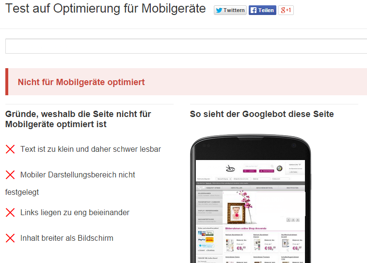 Mobile-Friendly Test von Google