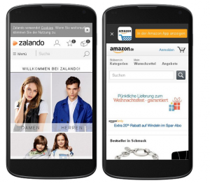Mobile Websites von Amazon und Zalando