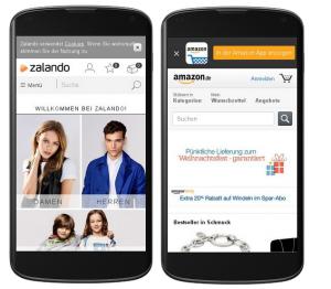Mobile Websites von Amazon und Zalando