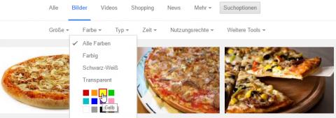 Farbfilter Google Bildersuche