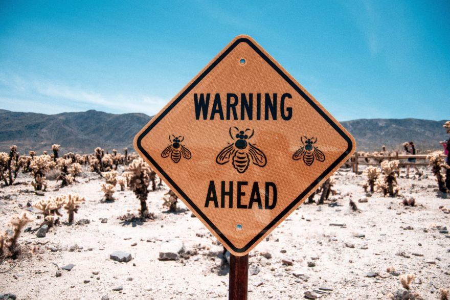 Warnschild vor Insekten.