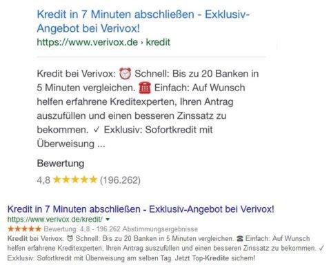 Bei der mobilen Suche und der Suche via PC stehen unterschiedlich viele Zeichen zur Verfügung.