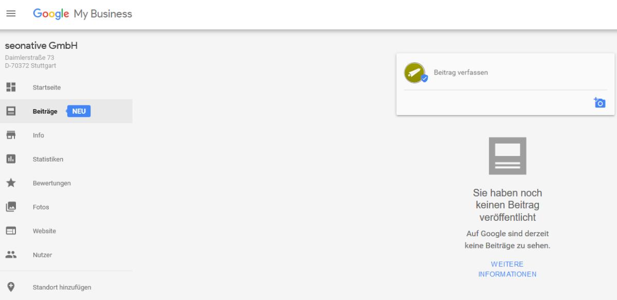 Google My Business Dashboard mit neuer Beitragsfunktion