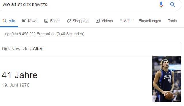 """Google-Suche von """"Wie alt ist Dirk Nowitzki?"""""""