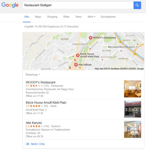 Beispieldarstellung der Local Pack, also die drei Anzeigen in der lokalen Suche bei Google.