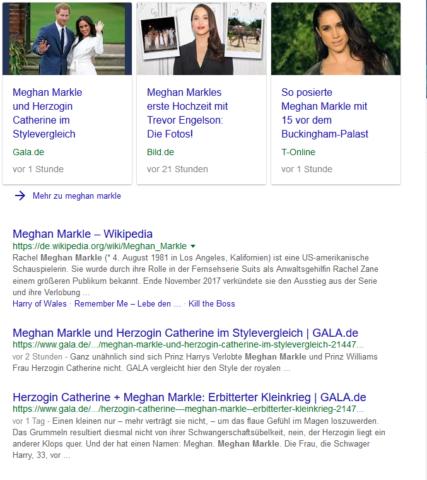 Ist ein Thema brandaktuell oder in den Trends, sucht Google nach aktuellen Ergebnissen.