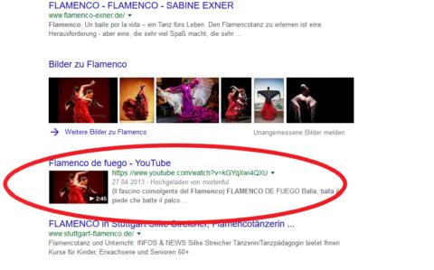 In der organischen Suchen ranken auch Videos von YouTube