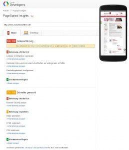 Startseite - PageSpeed