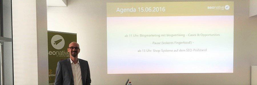 Agenturevent bei seonative, Blogmarketing und Shopsysteme