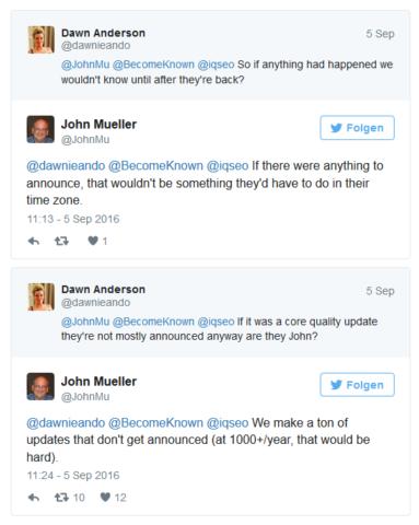Twitter Antwort von John mueller auf die Frage, ob es am Freitag ein Update gab.