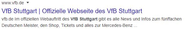 Beispiel vom Title Tag von www.vfb.de