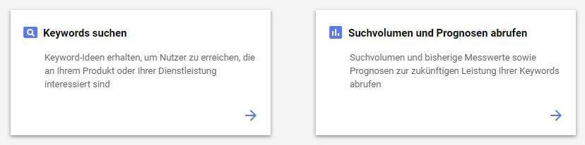 Neuer Google Keyword-Planer Test - Start