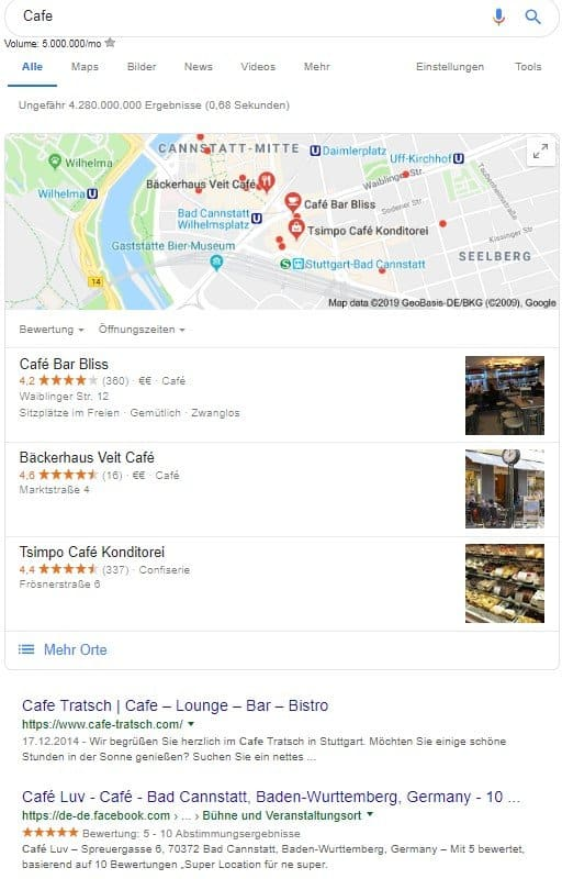 """Suchergebnisse für die Suchanfrage """"Cafe"""""""