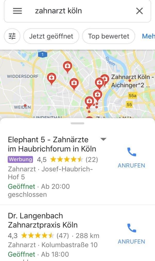 Werbung in den lokalen Suchergebnissen bei Google.
