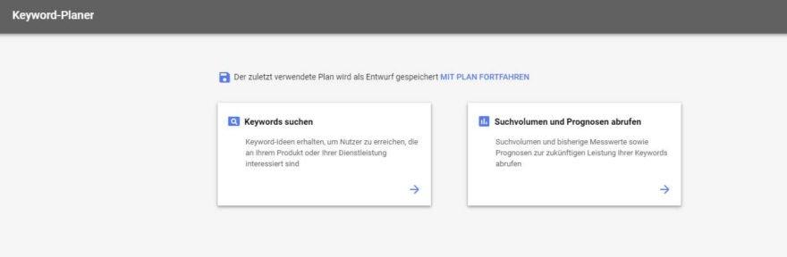 neuer Google Keyword-Planer