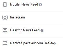 Facebook Anzeigen- Platzierung