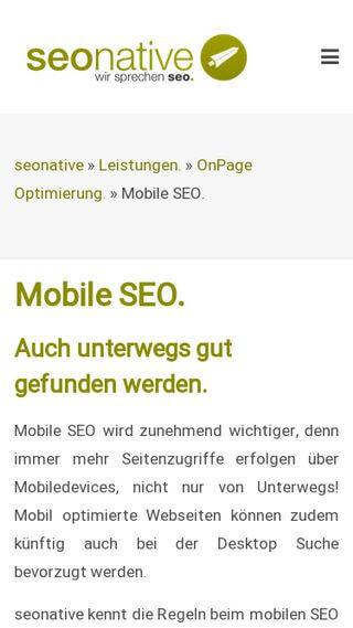 Ansicht der Seonative Mobile SEO Webseite Responsive
