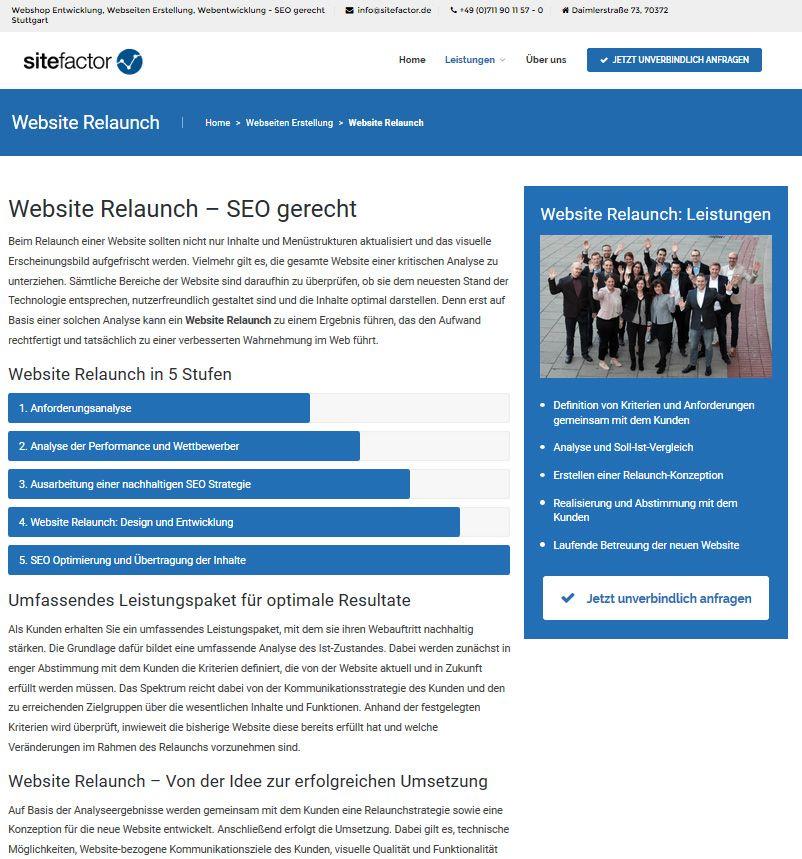 sitefactor Relaunch